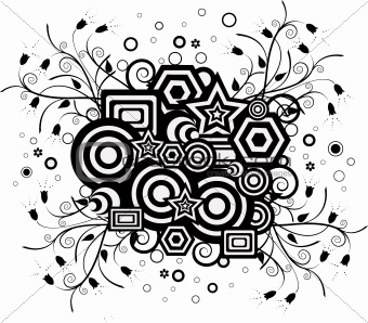 Background in black and withe with floral elements