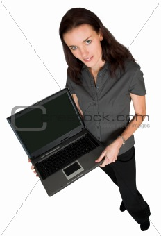 business woman with laptop - full body