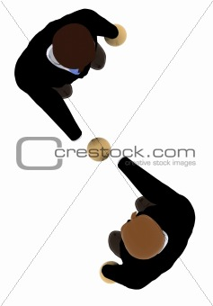 business deal - 3d illustration - top view