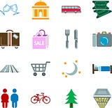 Tourist locations icon set