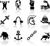 Strength Icon Set Series Design Elements