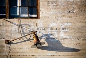 old lantern on garage wall