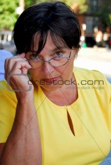 Mature woman glasses