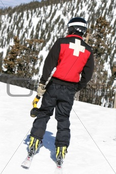 Ski Patrol with Ice Drill