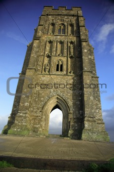 Vertical view of Glastonbury Tor