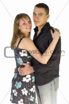 Cuddling couple - both faces to the camera