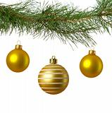 christmas branch with three golden baubles