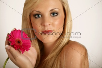 Beautifull woman with red flower