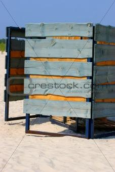 Beach cabine in sandy beach