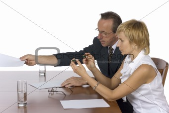 business meeting - man gives papers
