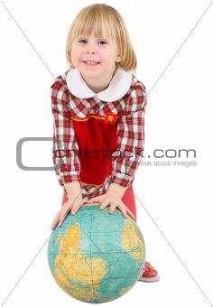 Little girl and terrestrial globe