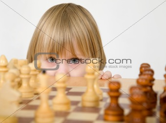 Little girl and chess