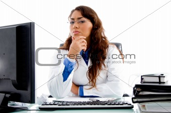 medical professional looking at camera