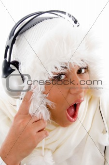 beautiful girl surprised after listening to music