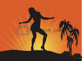 a female silhouette Stretching to the Sun with grung elements and palm tree