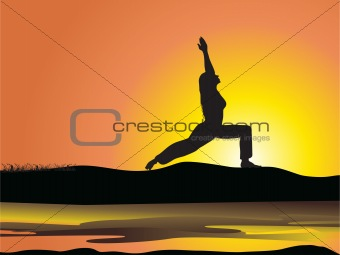 a female silhouette Stretching to the Sun