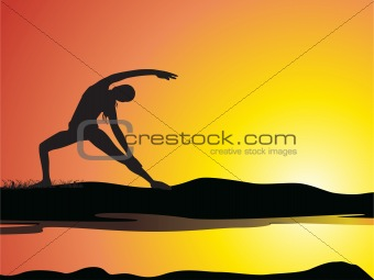 a lady silhouette doing yoga for physical fitness