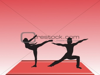 a young couple silhouette doing yoga on the floor