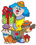Party clown with cute animals