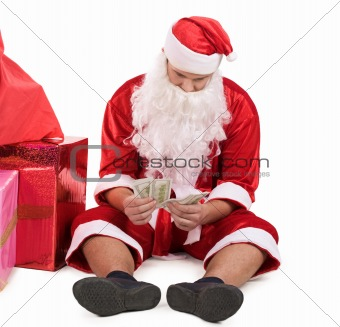 Santa with money