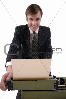 businessman and old typewriter