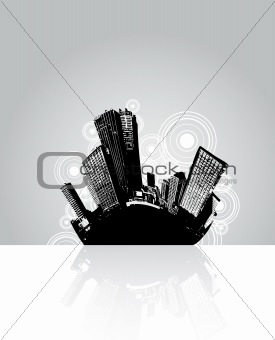 City reflection with circles in the background.