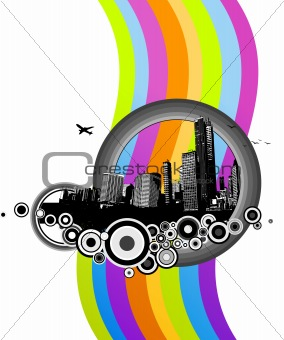 City with colorful rainbow. Vector