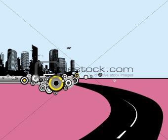 Road to city. Vector art