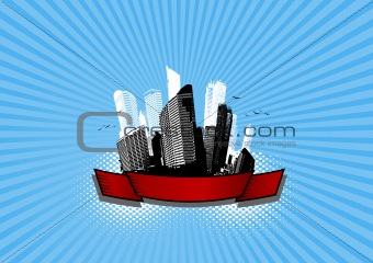 Skyscrapers on blue background. Vector