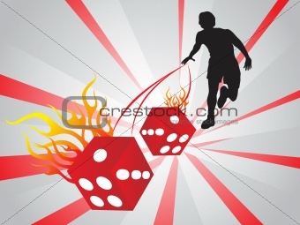 abstract background with vector dice and man, wallpaper