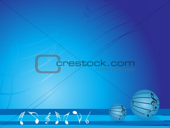 abstract blue background with musical notes