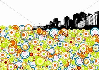Black city with circles. Vector