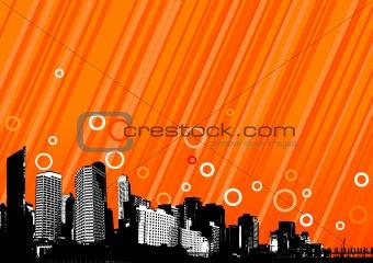 City with orange lines. Vector