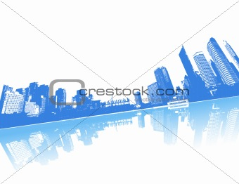 City reflected in the water. Vector