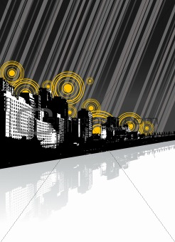 City with reflection and lines. Vector