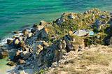 tourist camp at rocky coast