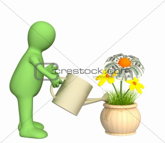 3d puppet, watering monetary flower