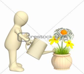 3d puppet, watering monetary flower