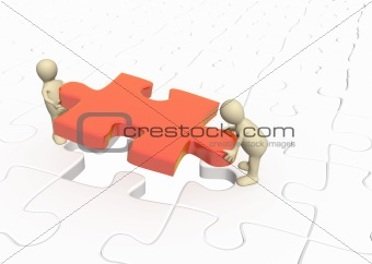 3d puppets installing red part puzzle