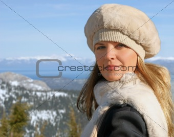 Blond girl in winter