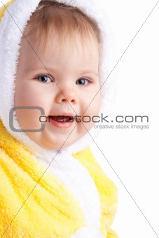 Baby in yellow hood