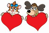 Cute cat and dog with red hearts