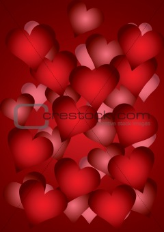a lot of red hearts, located one after another