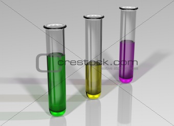 Three test tubes with chemicals