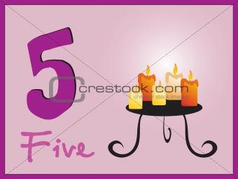 abstract frame with mathmatical number five, illustration