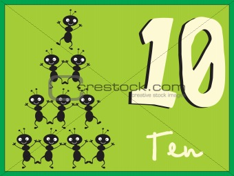 abstract frame with mathmatical number ten, illustration