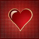 Red golden heart on a gradient halftone