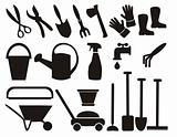 Set of silhouette of various gardening tool