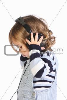 beauty a little girl listening music