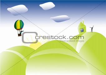 Abstract background with colored clouds and hot air balloon